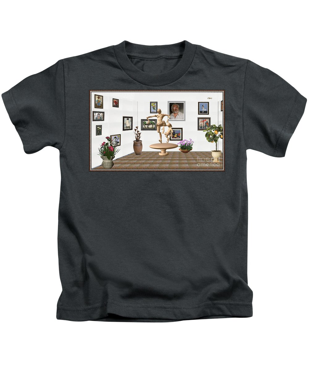 Modern Painting Kids T-Shirt featuring the mixed media digital exhibition _ Statue of Mother and child zombies by Pemaro