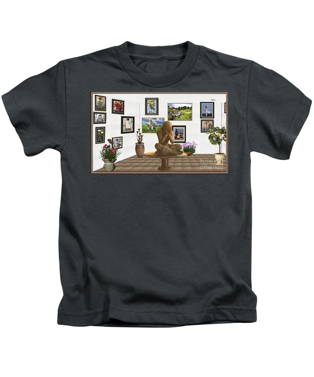 Modern Painting Kids T-Shirt featuring the mixed media digital exhibition _Statue 5 of posing girl 221 by Pemaro