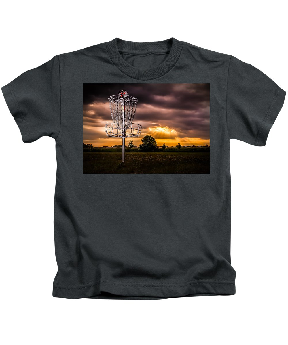 Disc Golf Basket Kids T-Shirt featuring the photograph Disc Golf Anyone? by Ron Pate