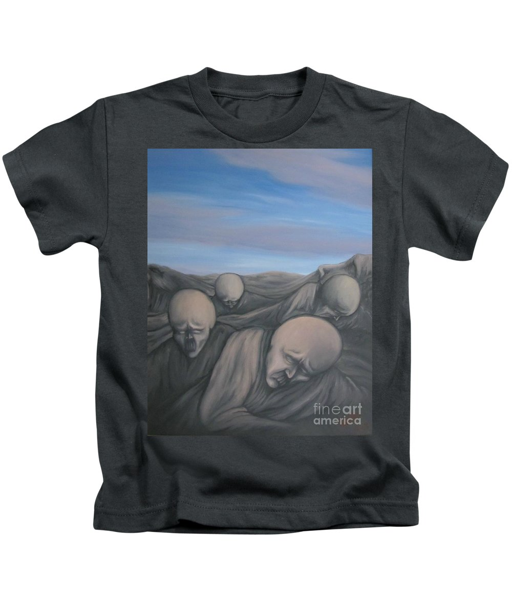 Tmad Kids T-Shirt featuring the painting Dismay by Michael TMAD Finney