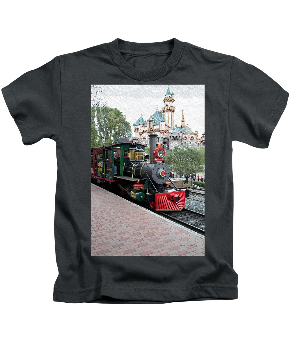 Disney Kids T-Shirt featuring the photograph Disneyland Railroad Engine 3 With Castle by Thomas Woolworth