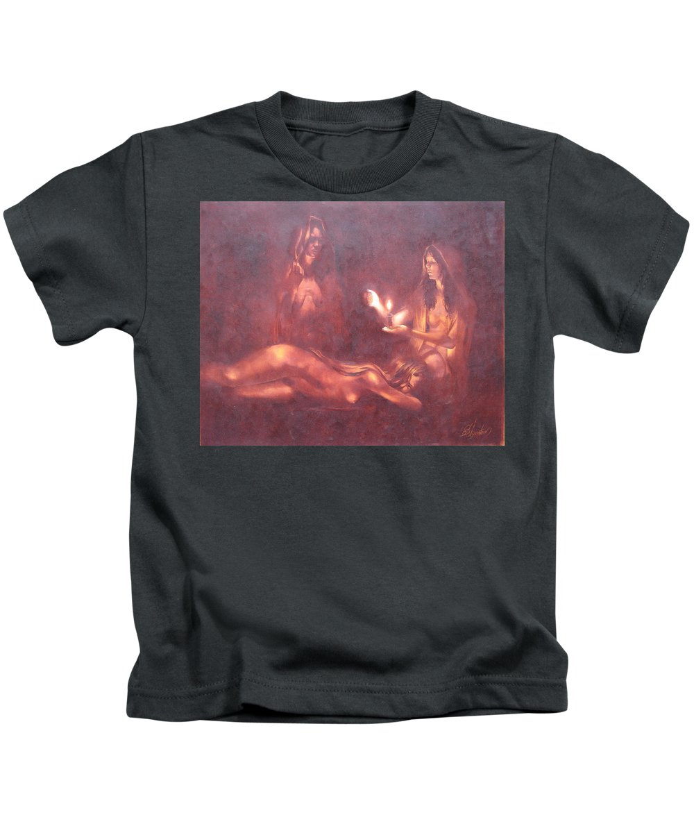 Ignatenko Kids T-Shirt featuring the painting Divination by Sergey Ignatenko