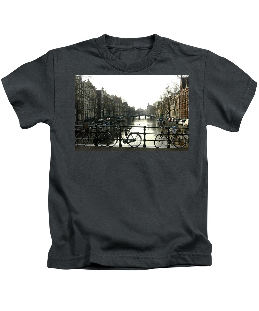 Landscape Amsterdam Red Light District Kids T-Shirt featuring the photograph Dnrh1103 by Henry Butz