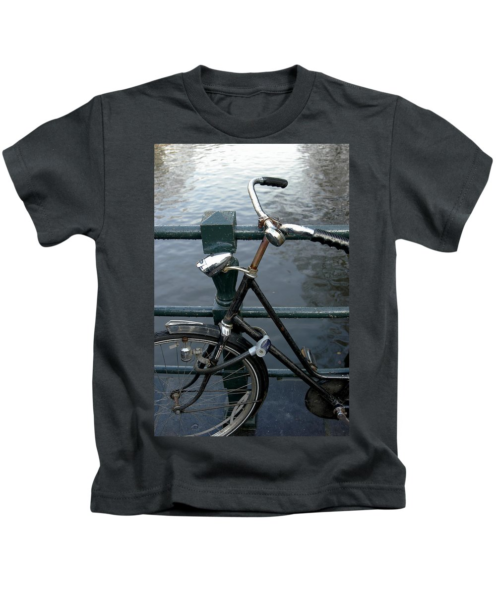 Landscape Amsterdam Red Light District Bicycle Kids T-Shirt featuring the photograph Dnrh1104 by Henry Butz