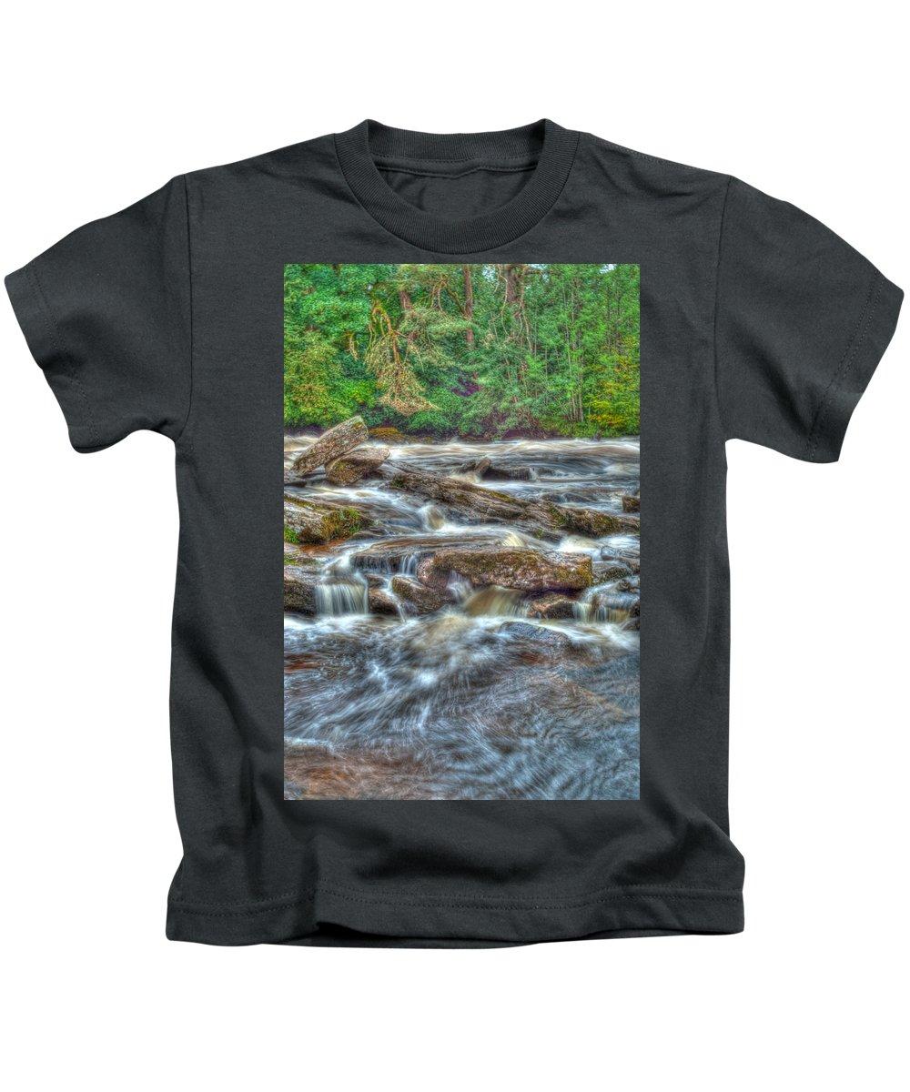 Dochart Kids T-Shirt featuring the photograph Dochart Falls by Chris Thaxter
