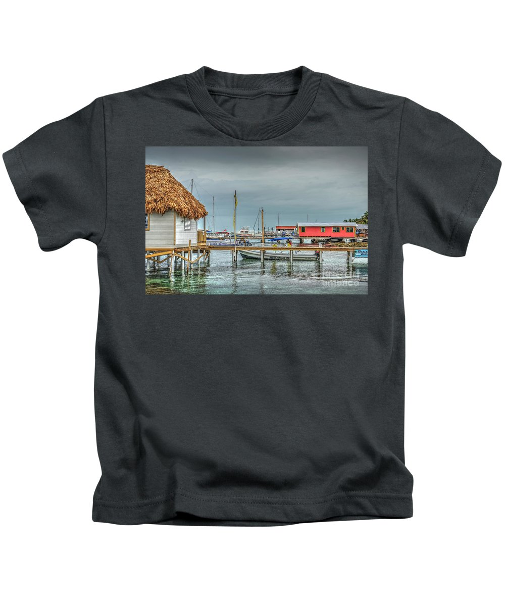 San Pedro Belize Kids T-Shirt featuring the photograph Dock Of The Sea by David Zanzinger
