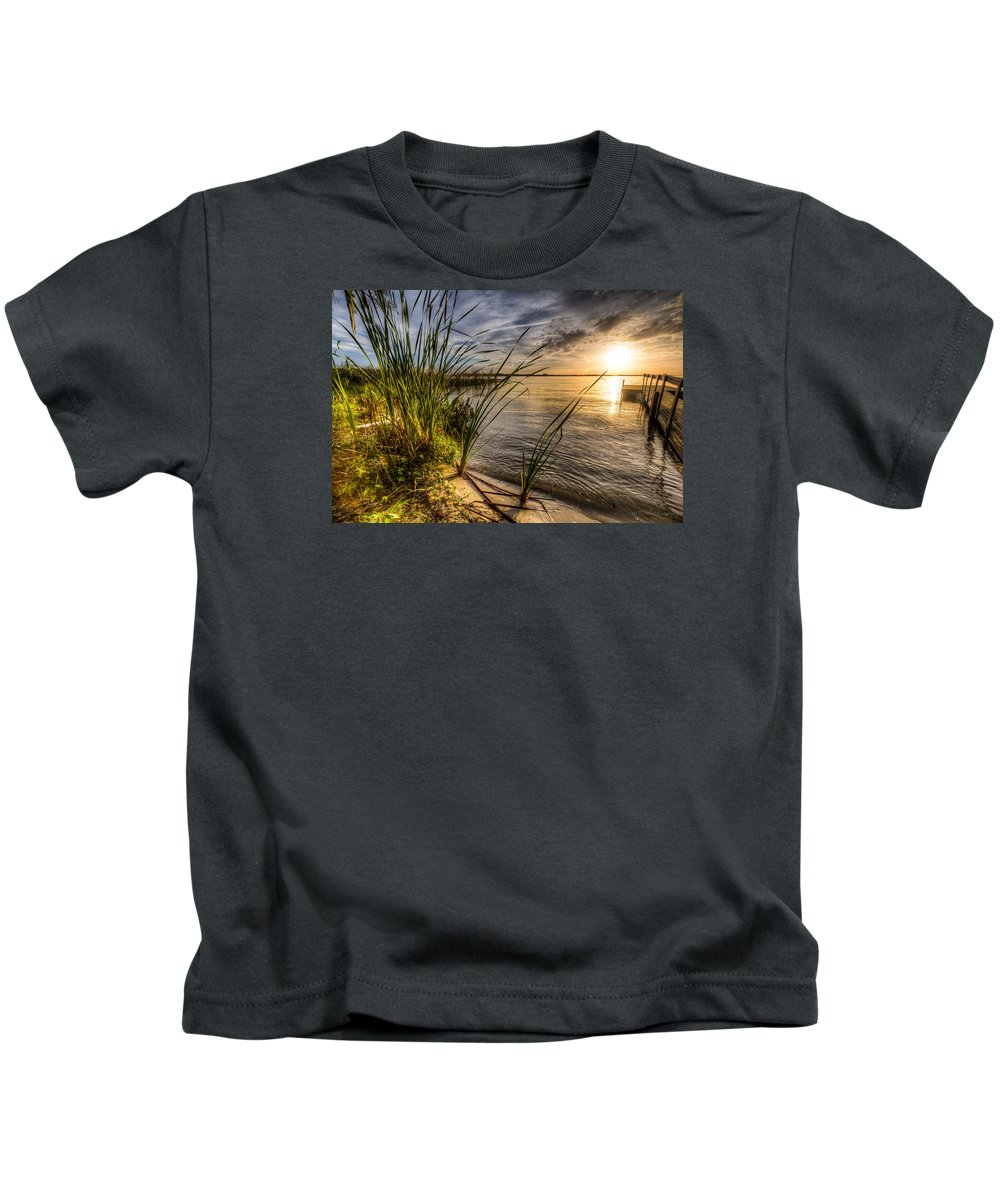 Lake Kids T-Shirt featuring the photograph Dockside by Ronald Kotinsky
