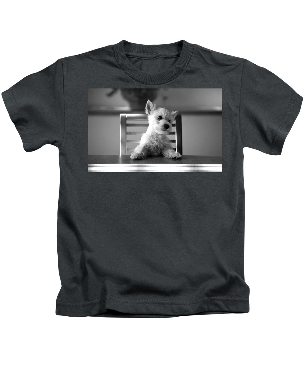 Dog Kids T-Shirt featuring the photograph Dog Sitting On The Table by Sumit Mehndiratta