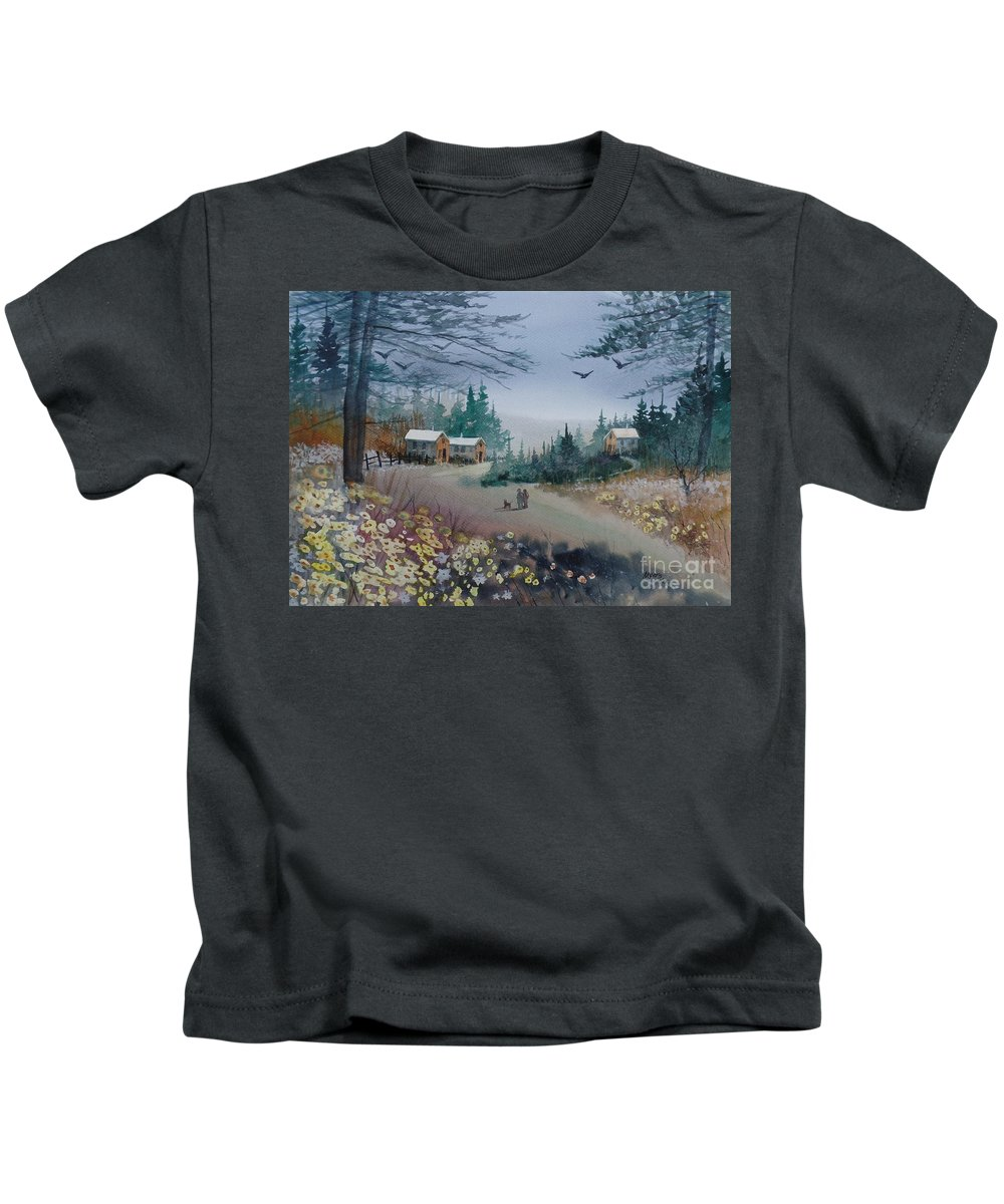 Original Kids T-Shirt featuring the painting Dog Walking, Watercolor Painting by David K Myers