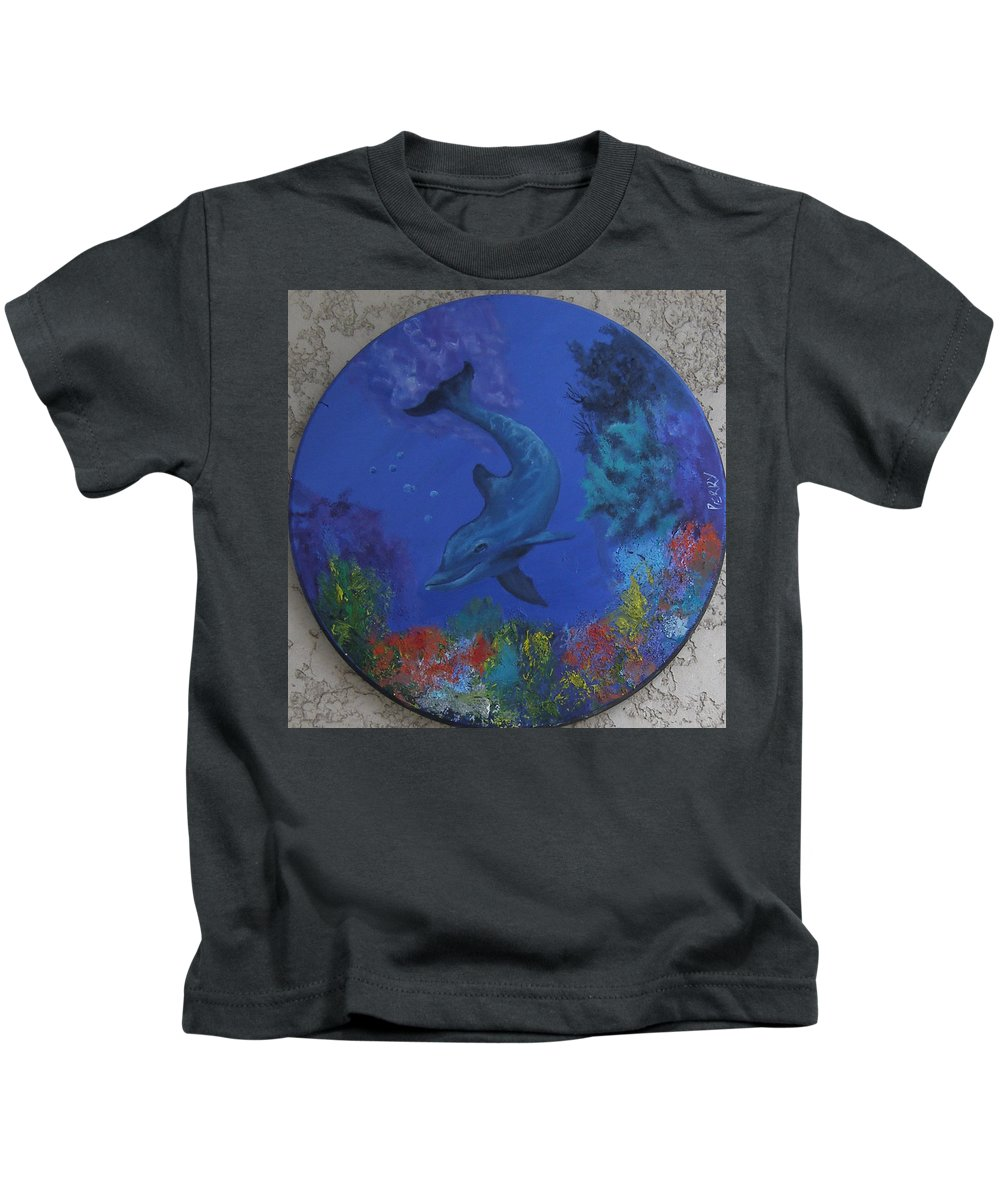 Dolphin Kids T-Shirt featuring the painting Dolphin by Mark Perry