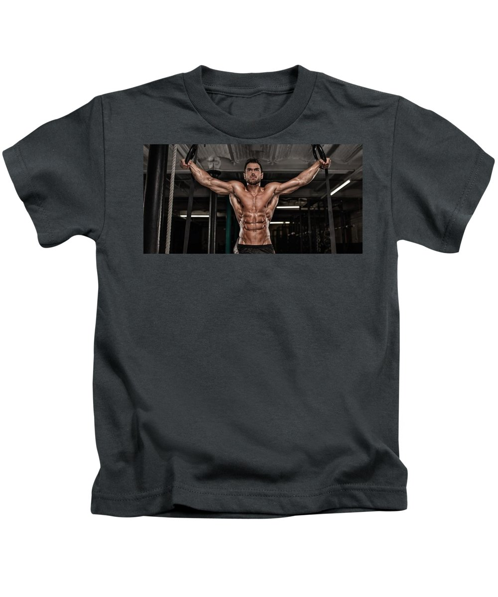 Kids T-Shirt featuring the mixed media Dominant Testo Review Boost Your Testosterone Level by Qalii Zasmi