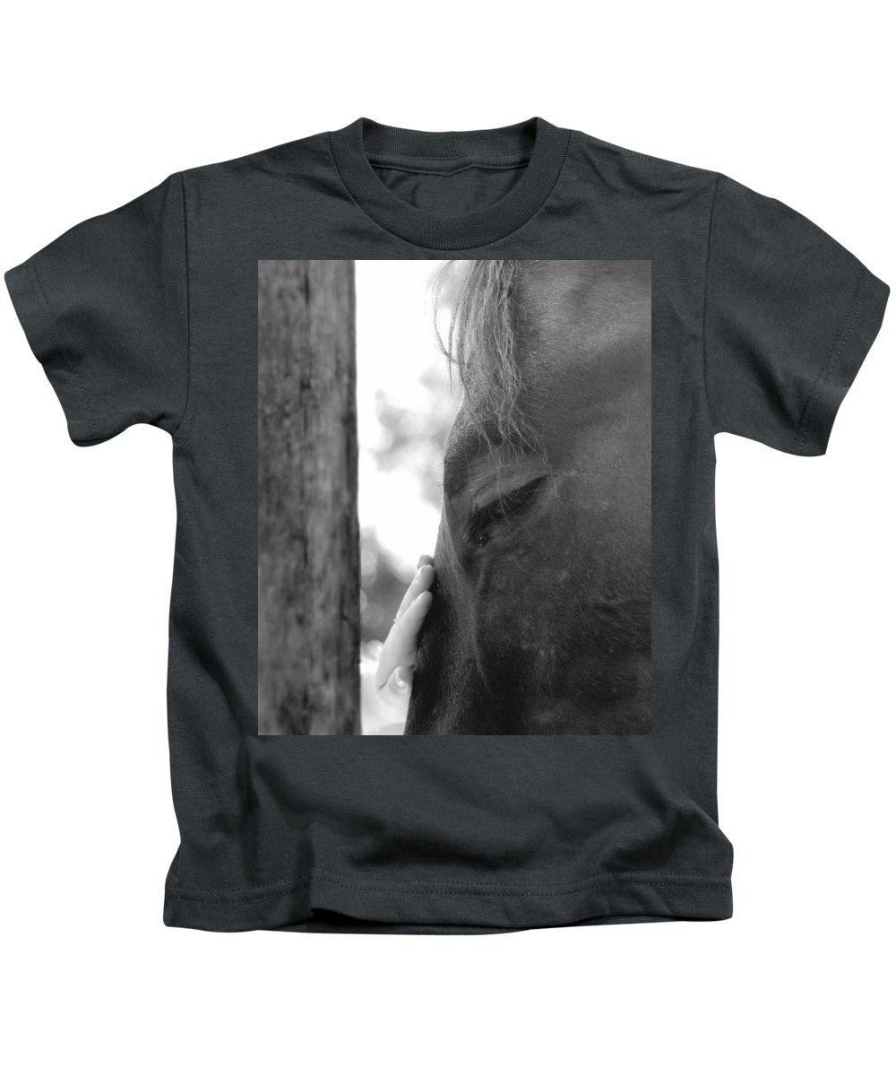 Horse Kids T-Shirt featuring the photograph Don't Be Afraid by Donna Blackhall
