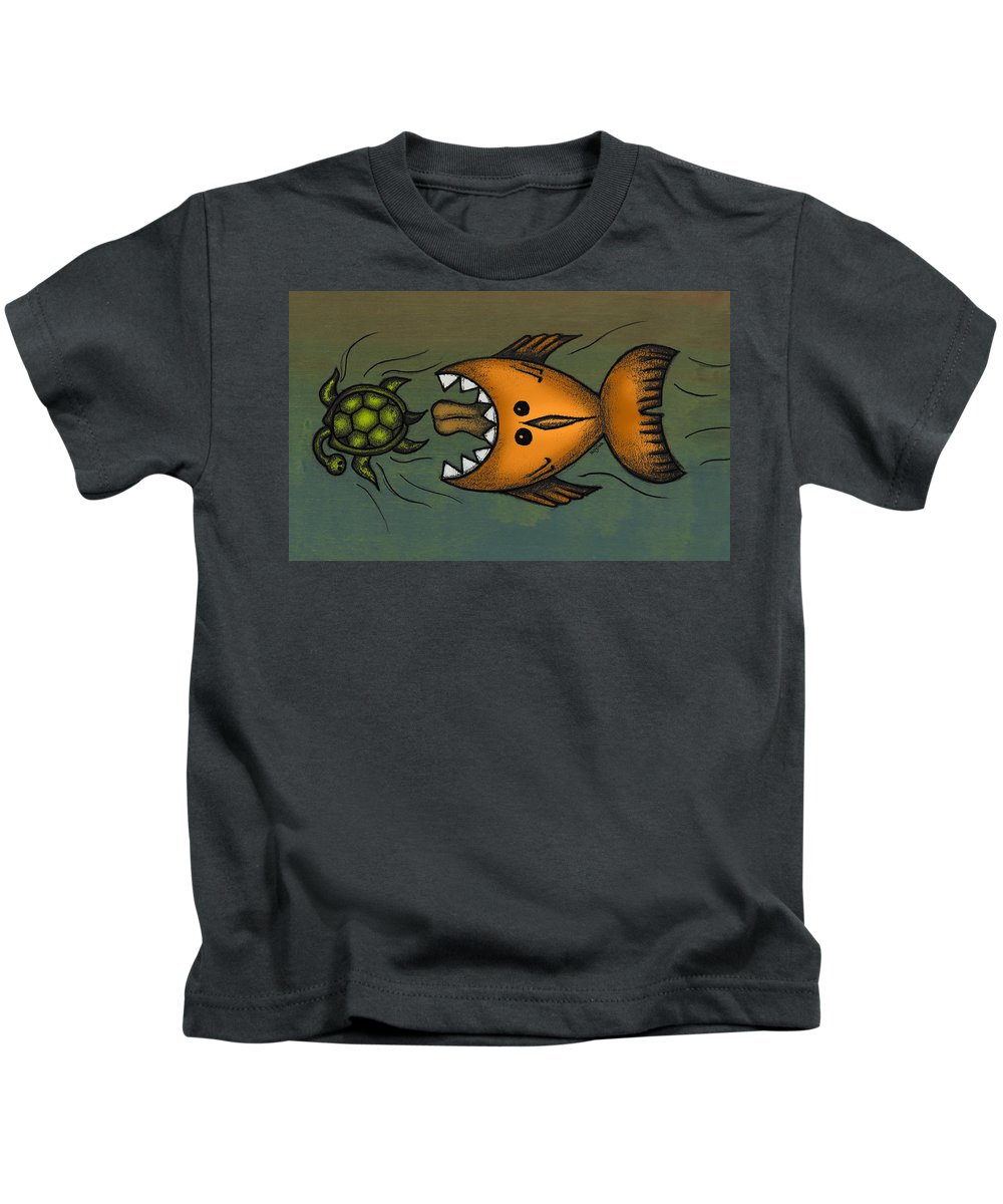 Fish Kids T-Shirt featuring the digital art Don't Look Back by Kelly Jade King
