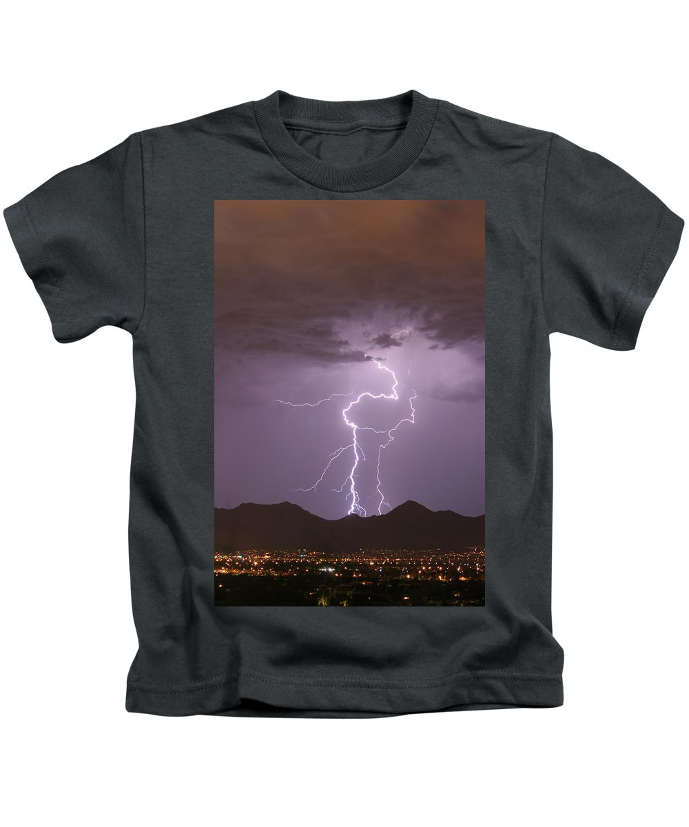 Lightning Kids T-Shirt featuring the photograph Double Trouble Fine Art Lightning Photography by James BO Insogna