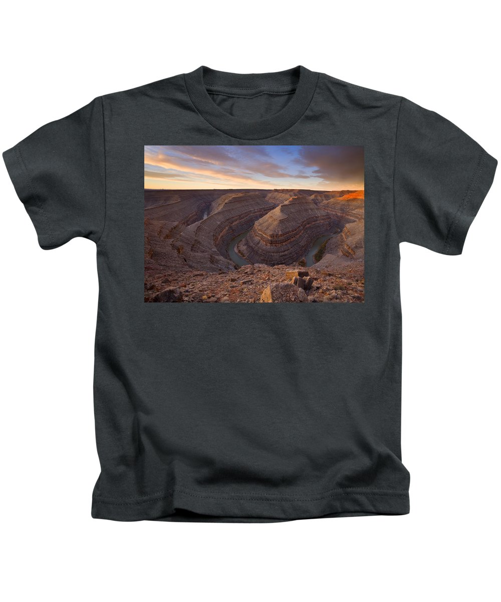 Goosenecks State Park Kids T-Shirt featuring the photograph Doubleback by Mike Dawson