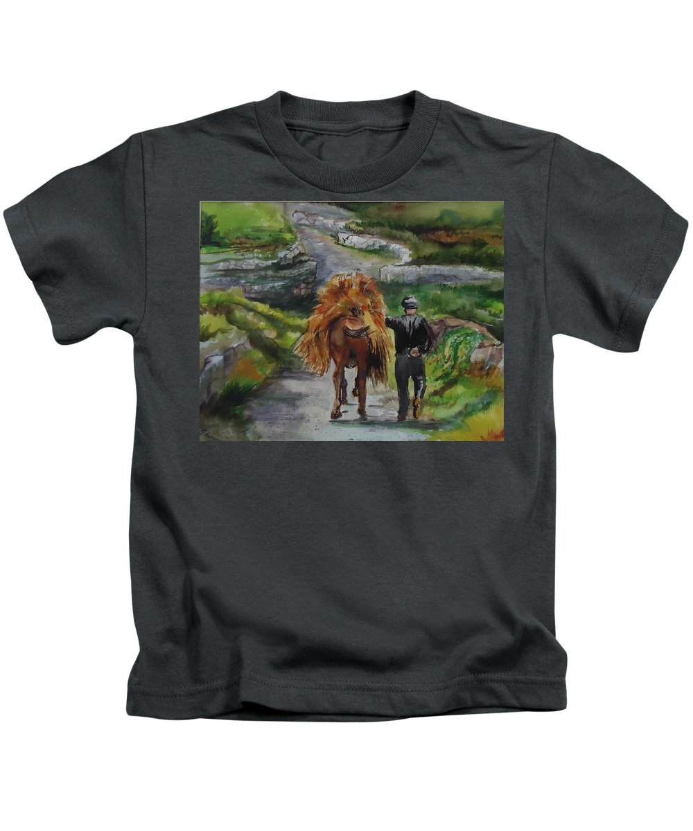 The Hay Has To Be Moved On This Donkeys Back. Farm Kids T-Shirt featuring the painting Down A Country Lane by Charme Curtin