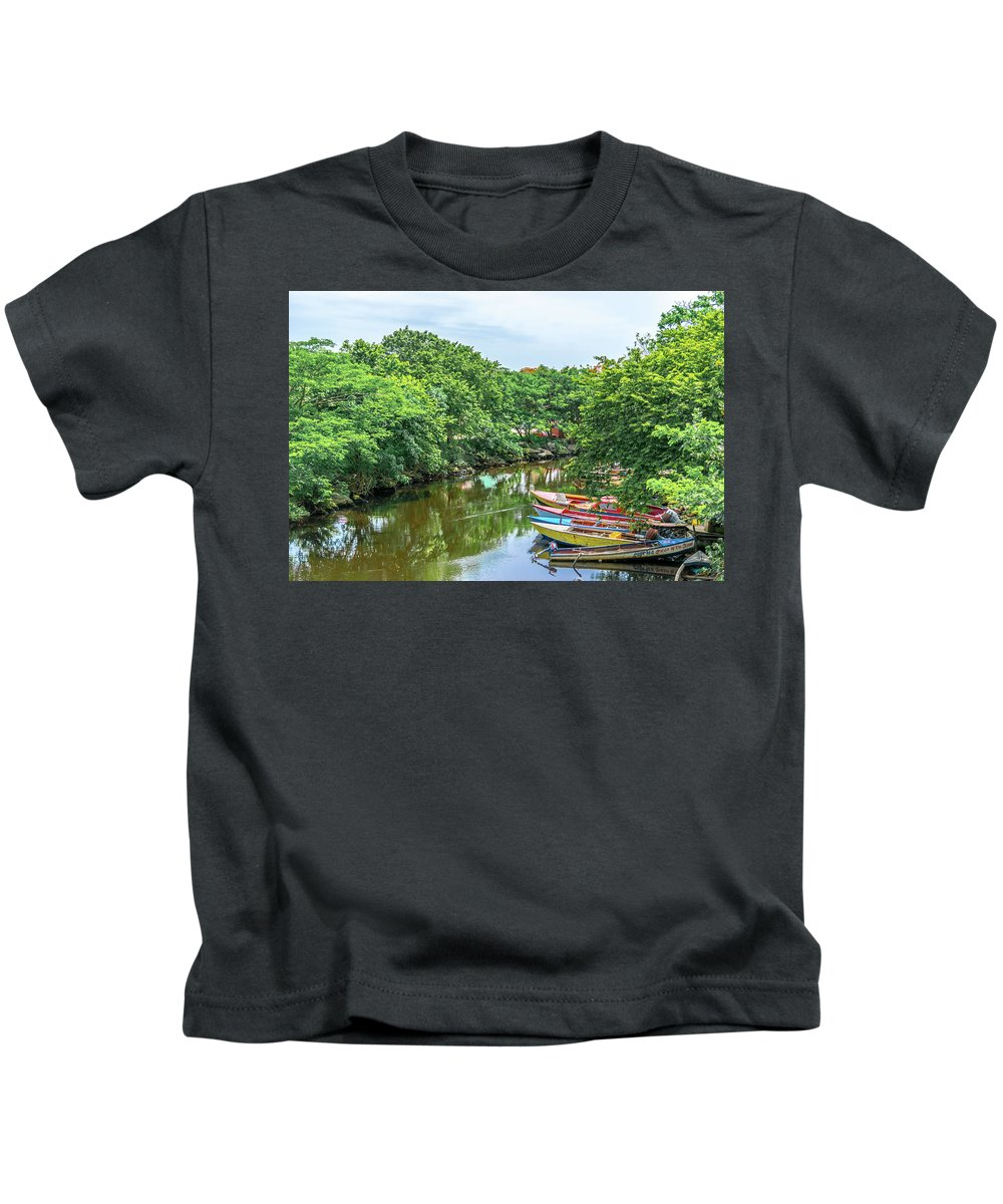 Destinations Kids T-Shirt featuring the photograph Down By The River by Debbie Ann Powell