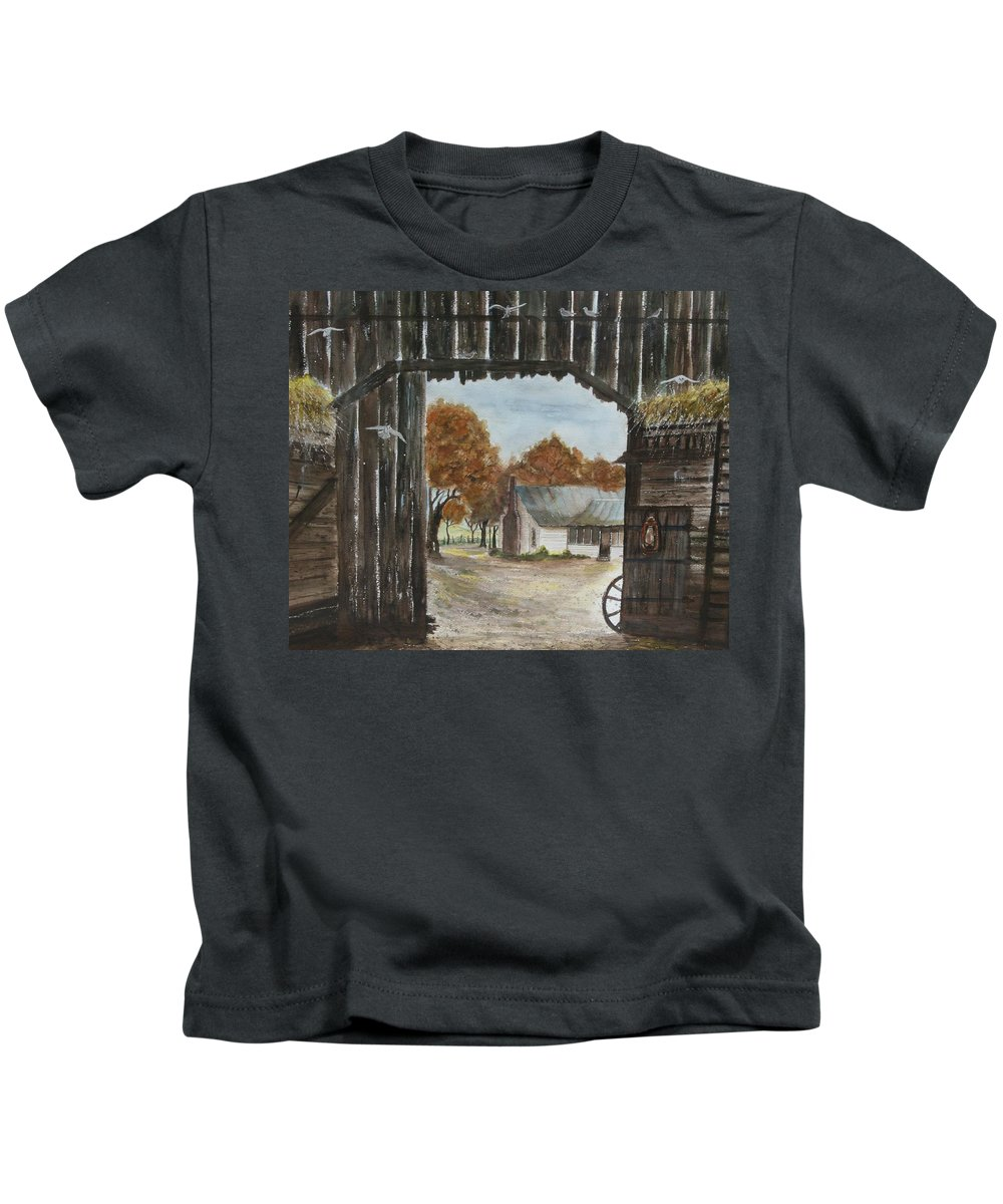 Grandpa And Grandma's Homeplace Kids T-Shirt featuring the painting Down Home by Ben Kiger