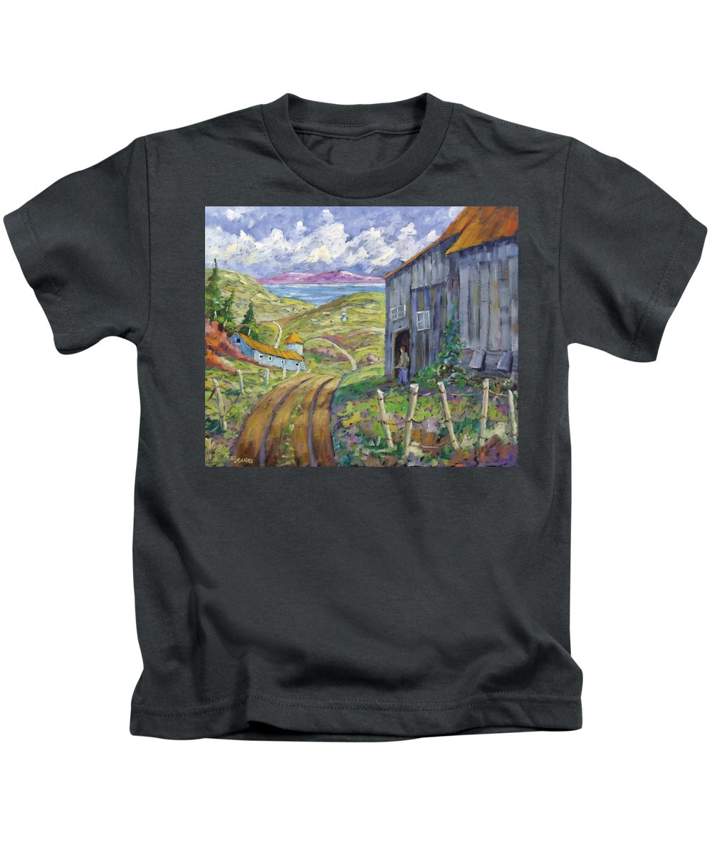 Art Kids T-Shirt featuring the painting Down To The Fjord by Richard T Pranke