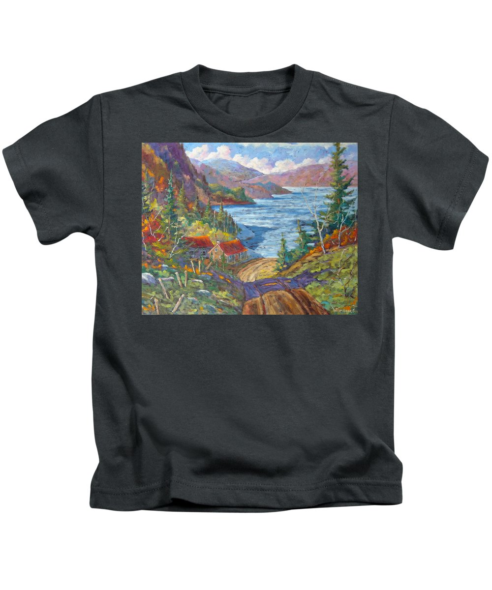 Landscape Kids T-Shirt featuring the painting Down To The Lake by Richard T Pranke