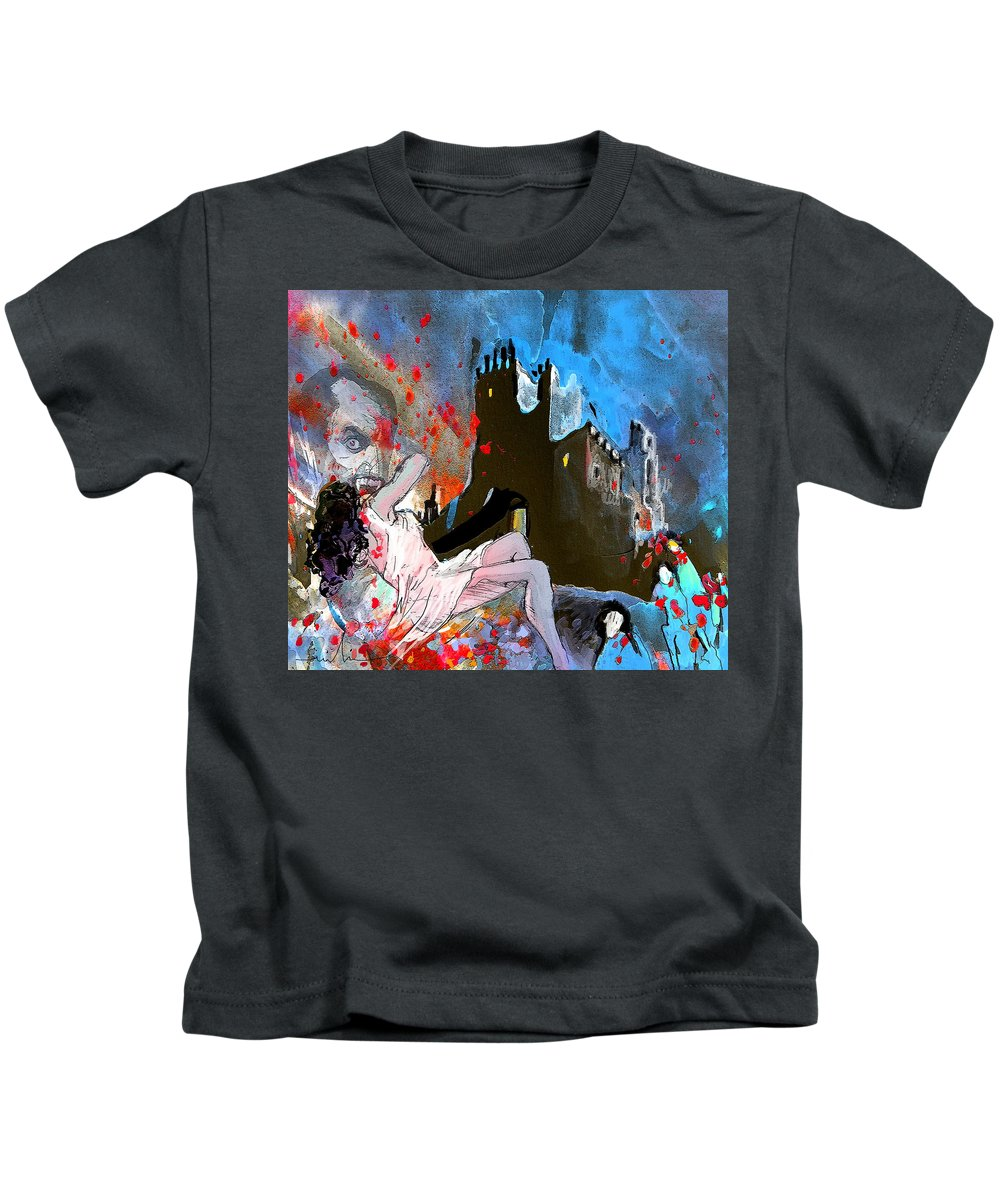 Dracula Kids T-Shirt featuring the painting Dracula by Miki De Goodaboom