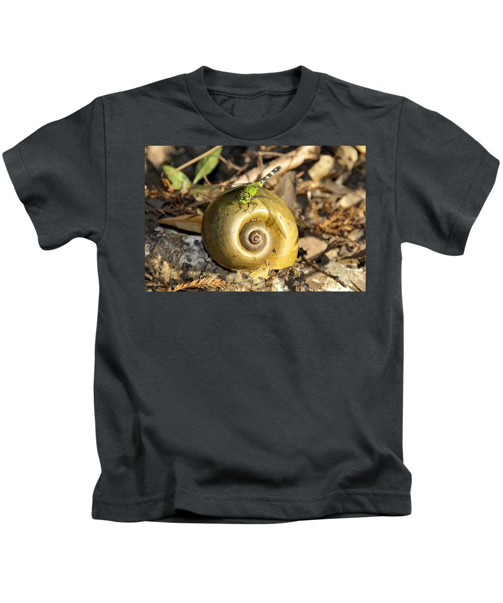 Dragonfly Kids T-Shirt featuring the photograph Dragonfly On Snail by David Lee Thompson