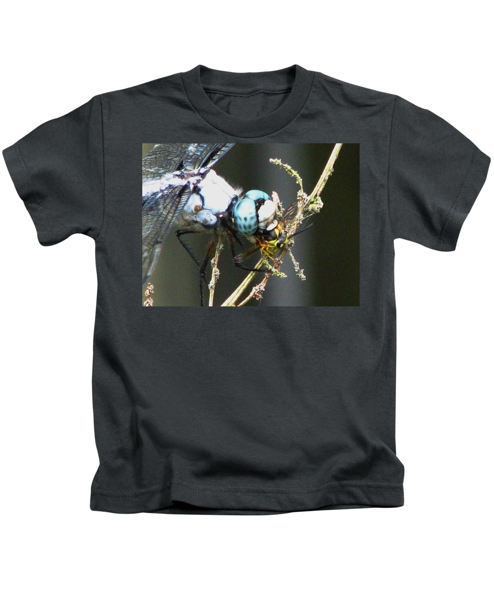 Dragonfly Kids T-Shirt featuring the photograph Dragonfly With Yellowjacket 3 by J M Farris Photography