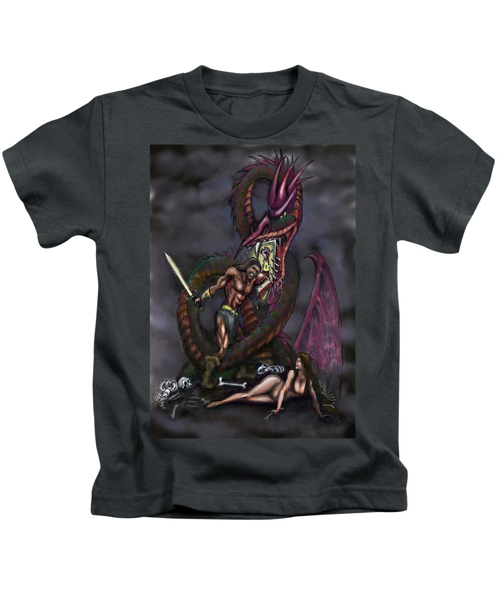 Dragon Kids T-Shirt featuring the painting Dragonslayer by Kevin Middleton