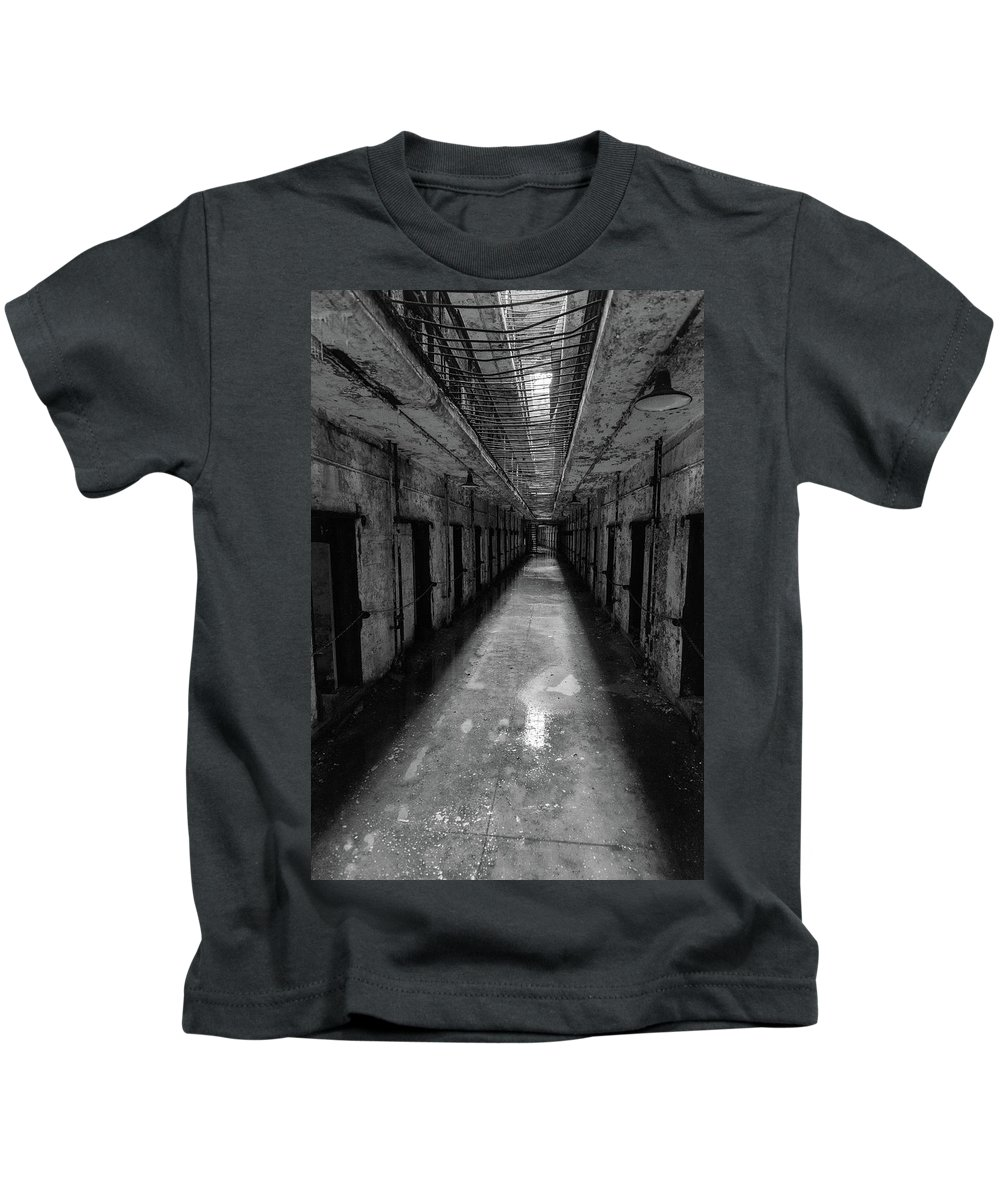 Eastern State Penitentiary Kids T-Shirt featuring the photograph Drainage by Kristopher Schoenleber