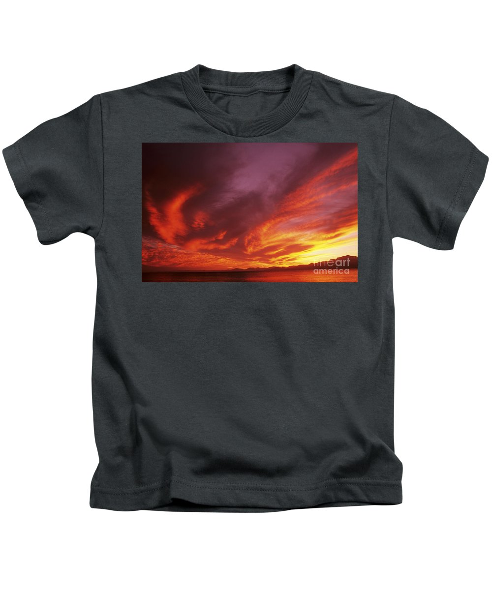 Air Art Kids T-Shirt featuring the photograph Dramatic Sunset by Larry Dale Gordon - Printscapes
