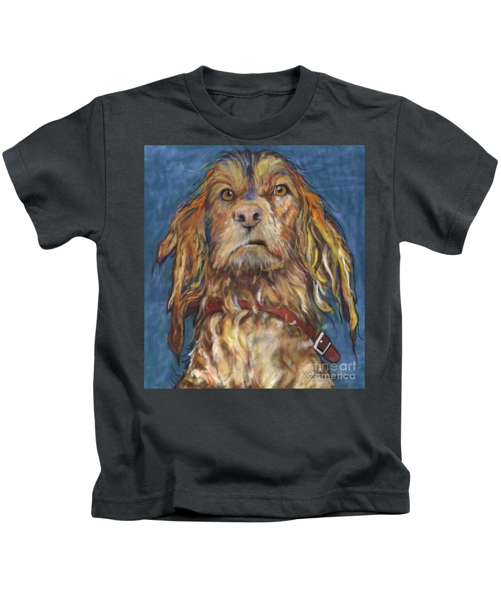 Golden Retriever Painting Kids T-Shirt featuring the pastel Drenched by Pat Saunders-White