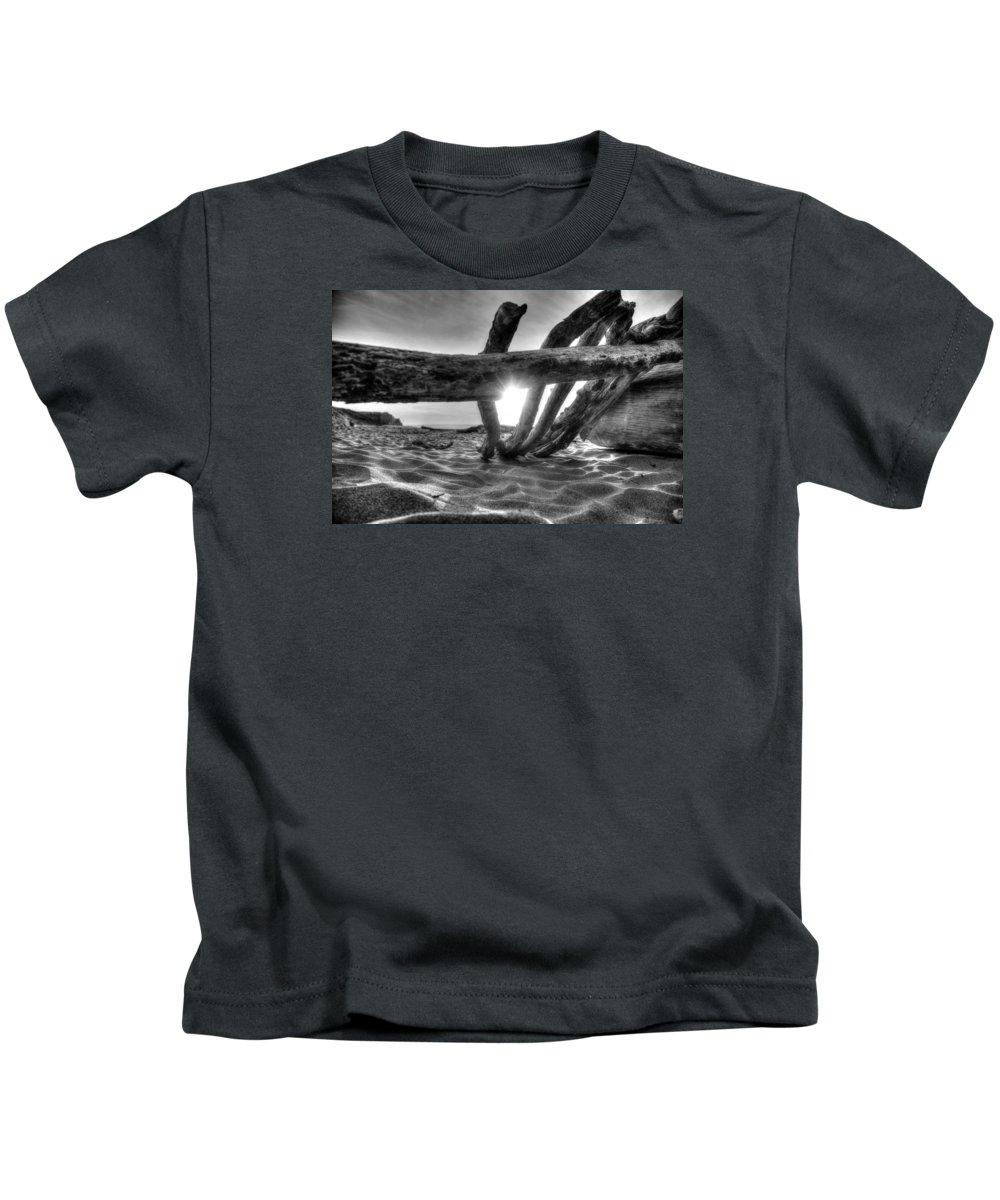 Driftwood Kids T-Shirt featuring the photograph Driftwood B/w by Michael Damiani