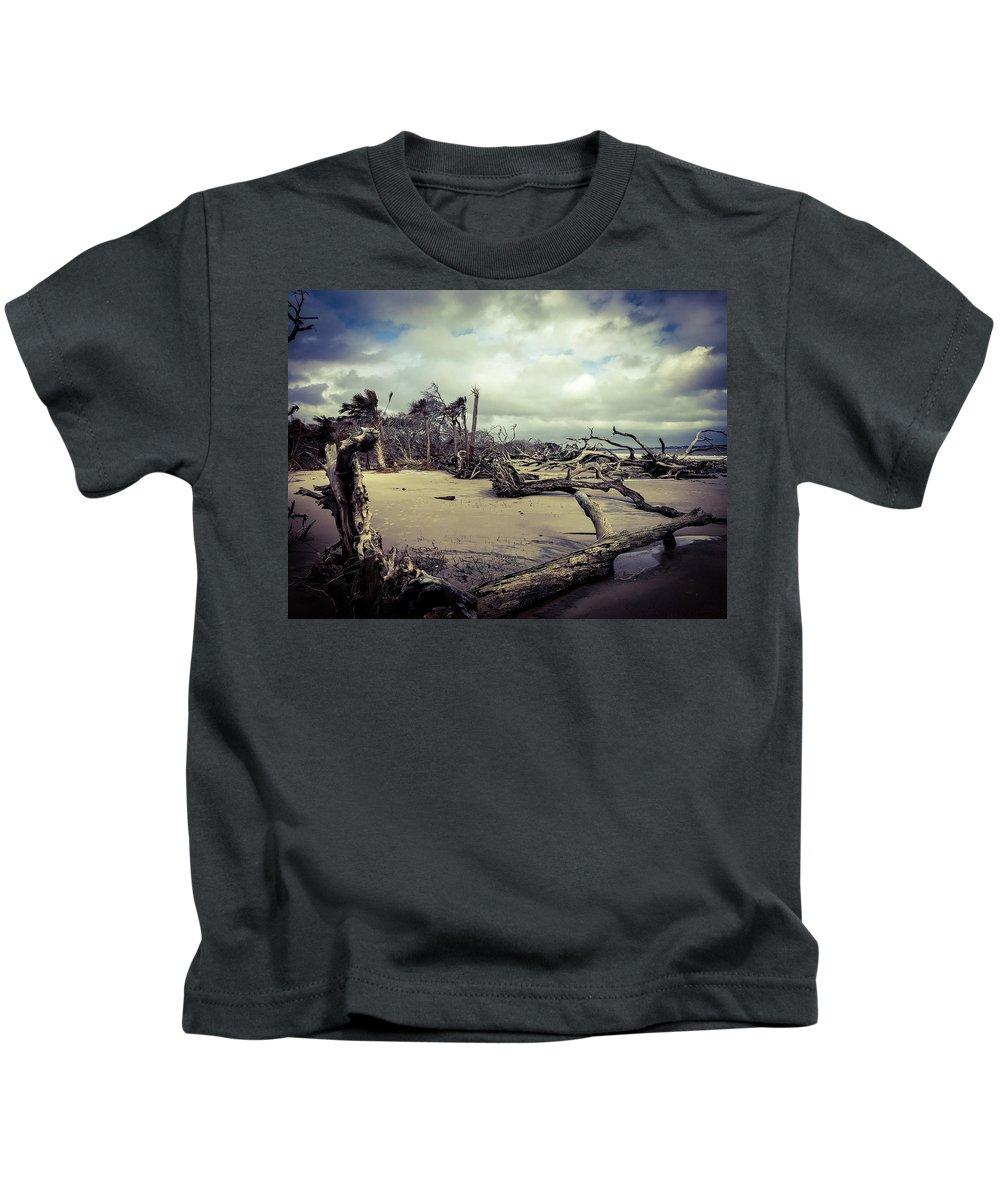 Ocean Landscape Kids T-Shirt featuring the photograph Driftwoods by Adam Rogers