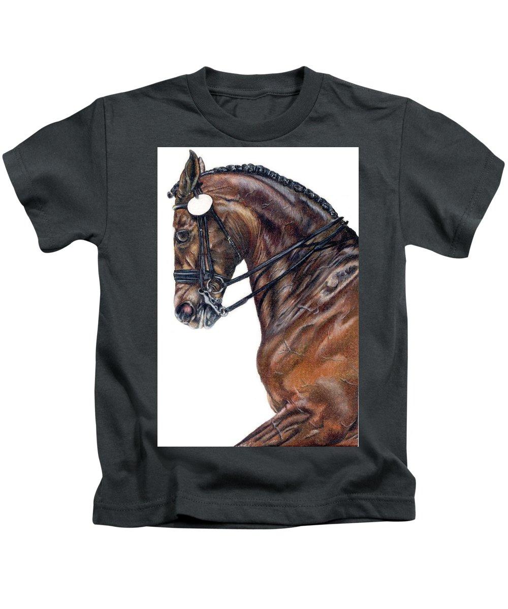 Horse Kids T-Shirt featuring the drawing Driven by Kristen Wesch