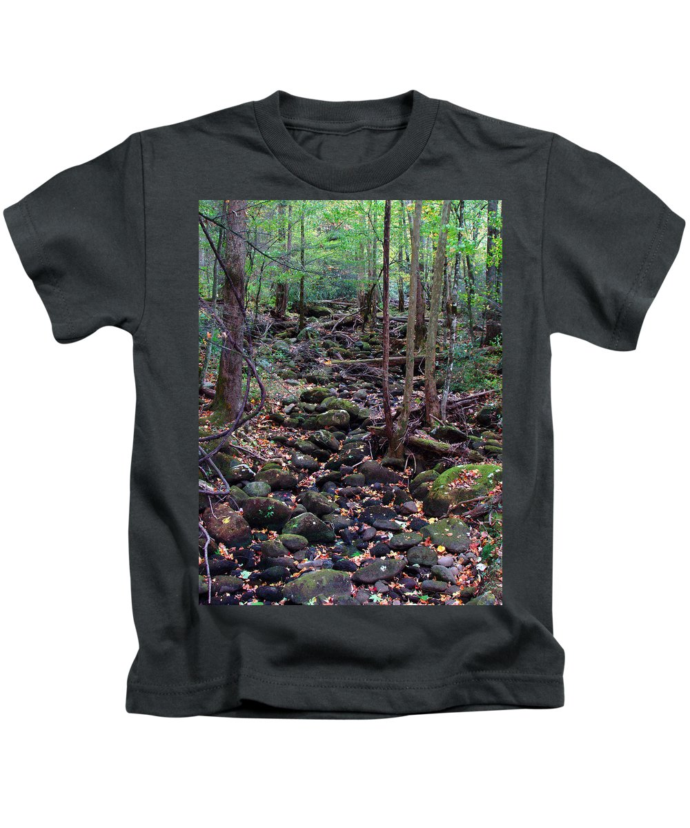 River Kids T-Shirt featuring the photograph Dry River Bed- Autumn by Nancy Mueller