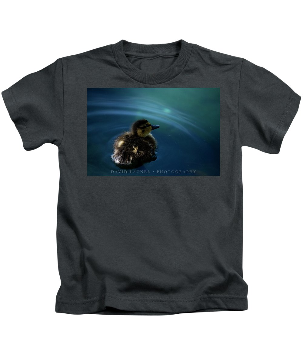 Duckling Kids T-Shirt featuring the photograph Duckling by David Launer