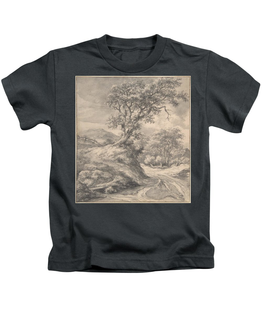 Jacob Van Ruisdae Kids T-Shirt featuring the painting Dune Landscape With Oak Tree by MotionAge Designs