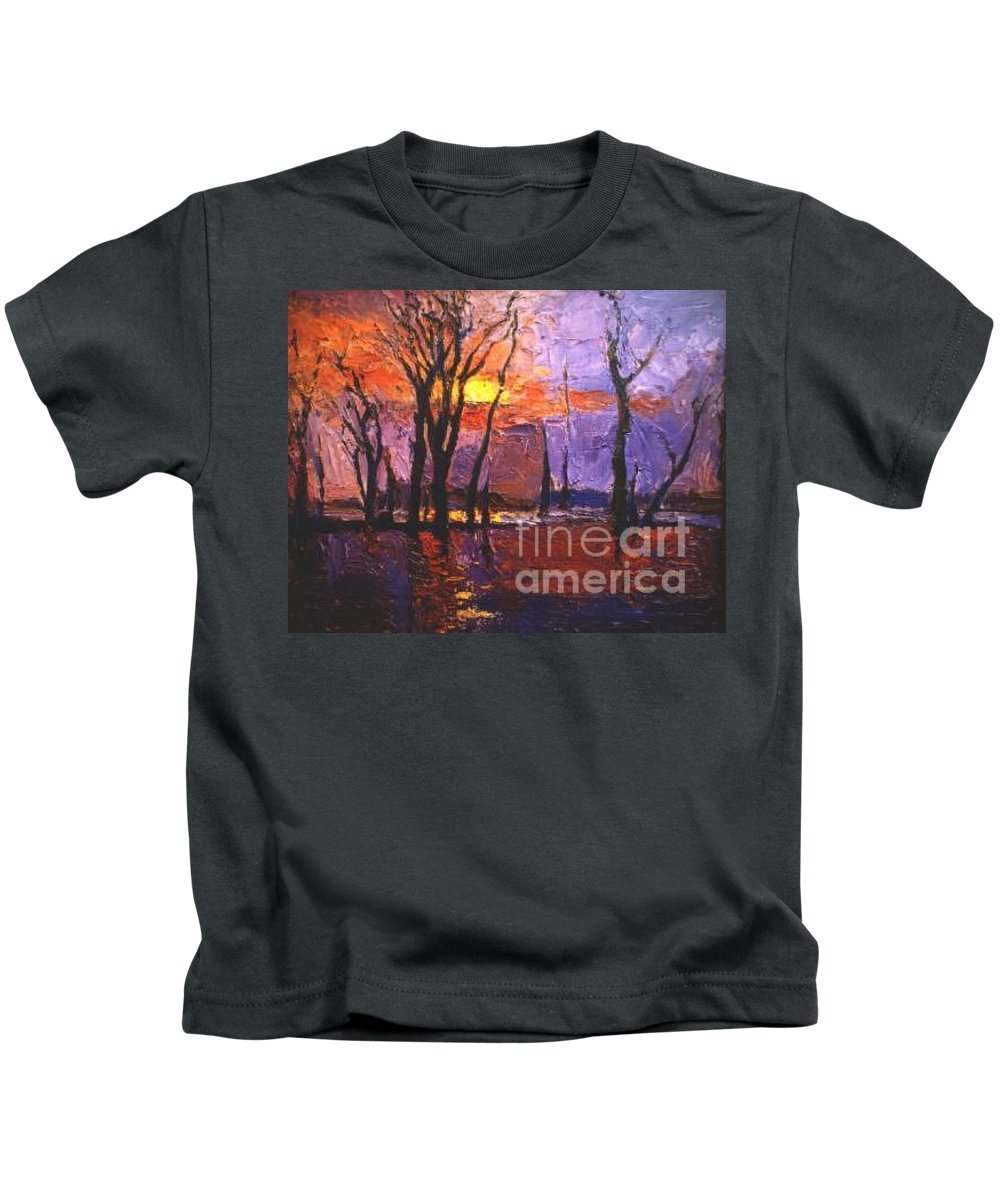 Dusk Kids T-Shirt featuring the painting Dusk by Meihua Lu