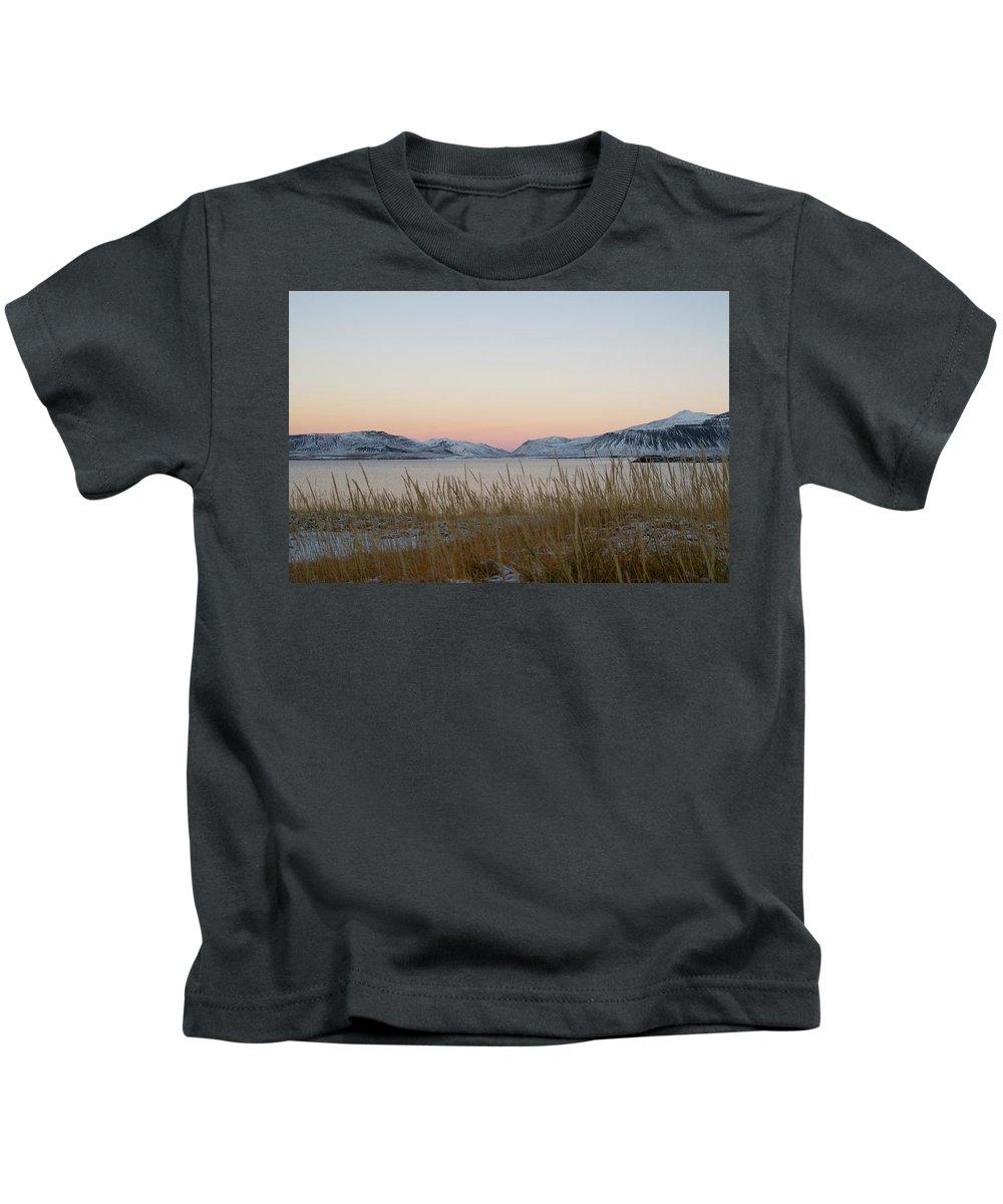 Sunset Kids T-Shirt featuring the photograph Dusk On Grundarfjordur by Porter Glendinning