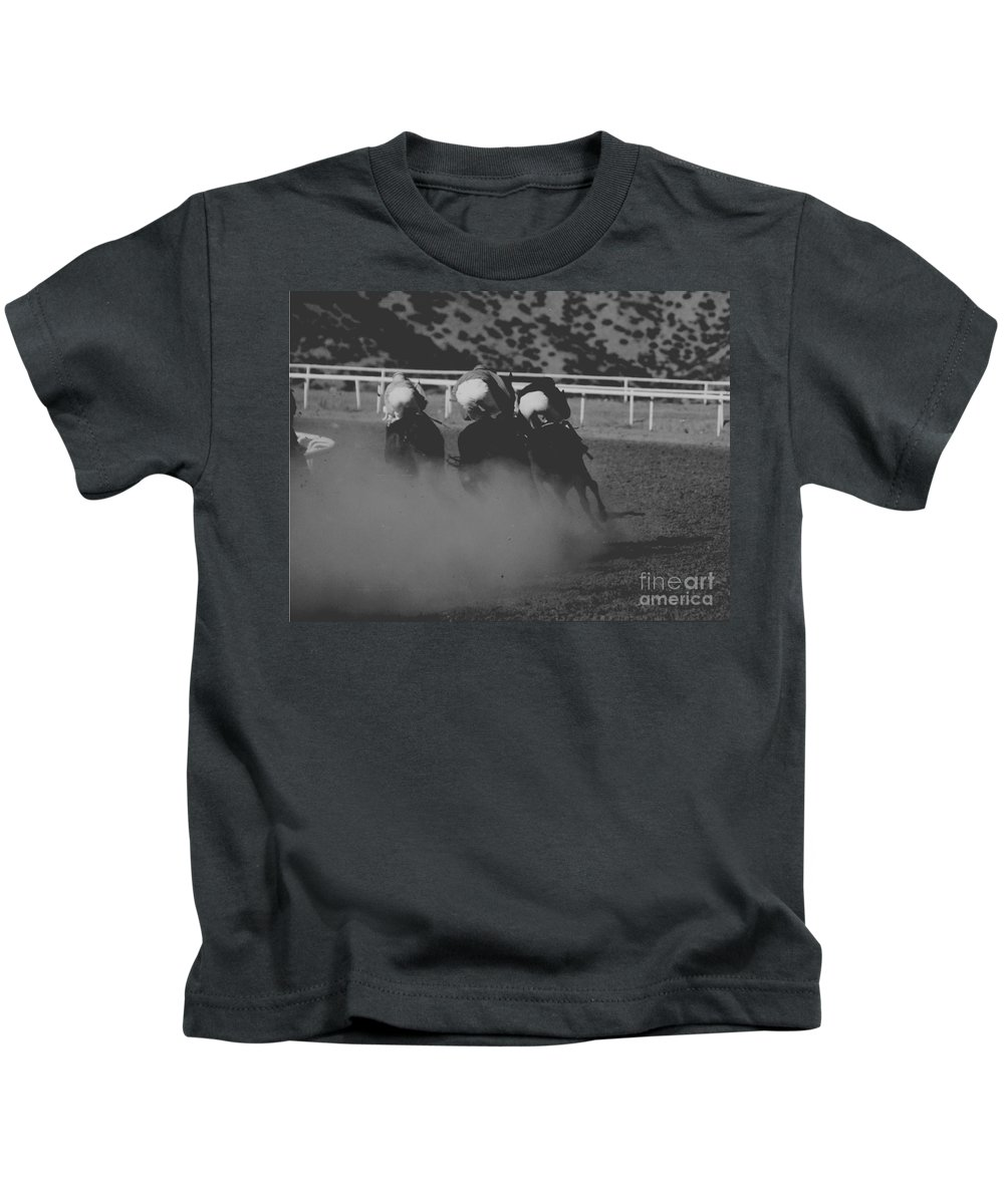 Horse Kids T-Shirt featuring the photograph Dust And Butts by Kathy McClure