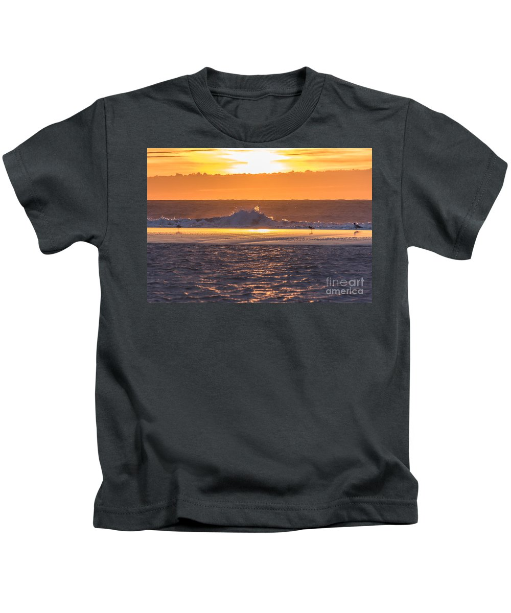 Beach Kids T-Shirt featuring the photograph Dutch December Beach 003 by Alex Hiemstra
