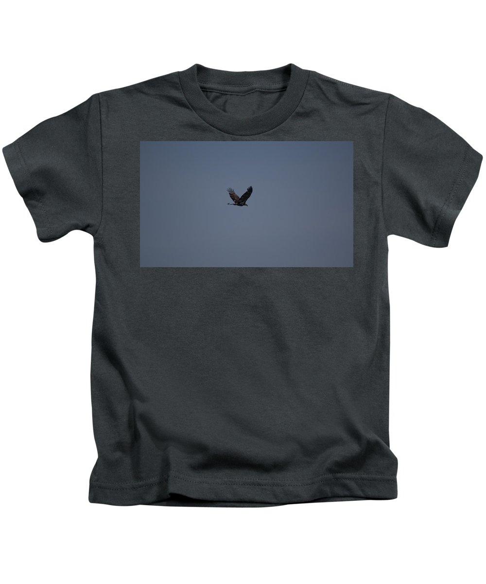 Bald Eagle Kids T-Shirt featuring the photograph Eagle Escape by Linda Kerkau