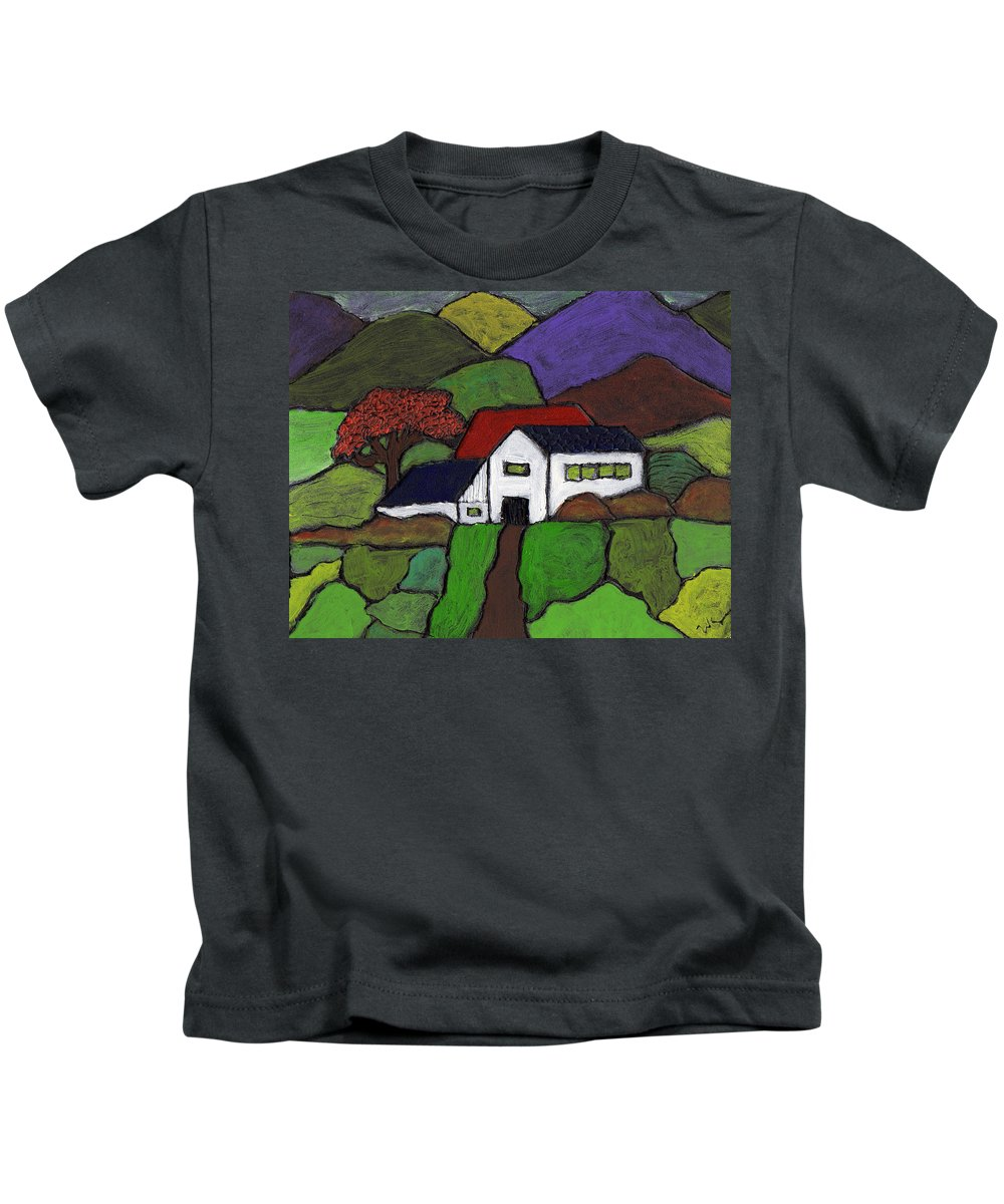 Farm Kids T-Shirt featuring the painting Early Autumn by Wayne Potrafka