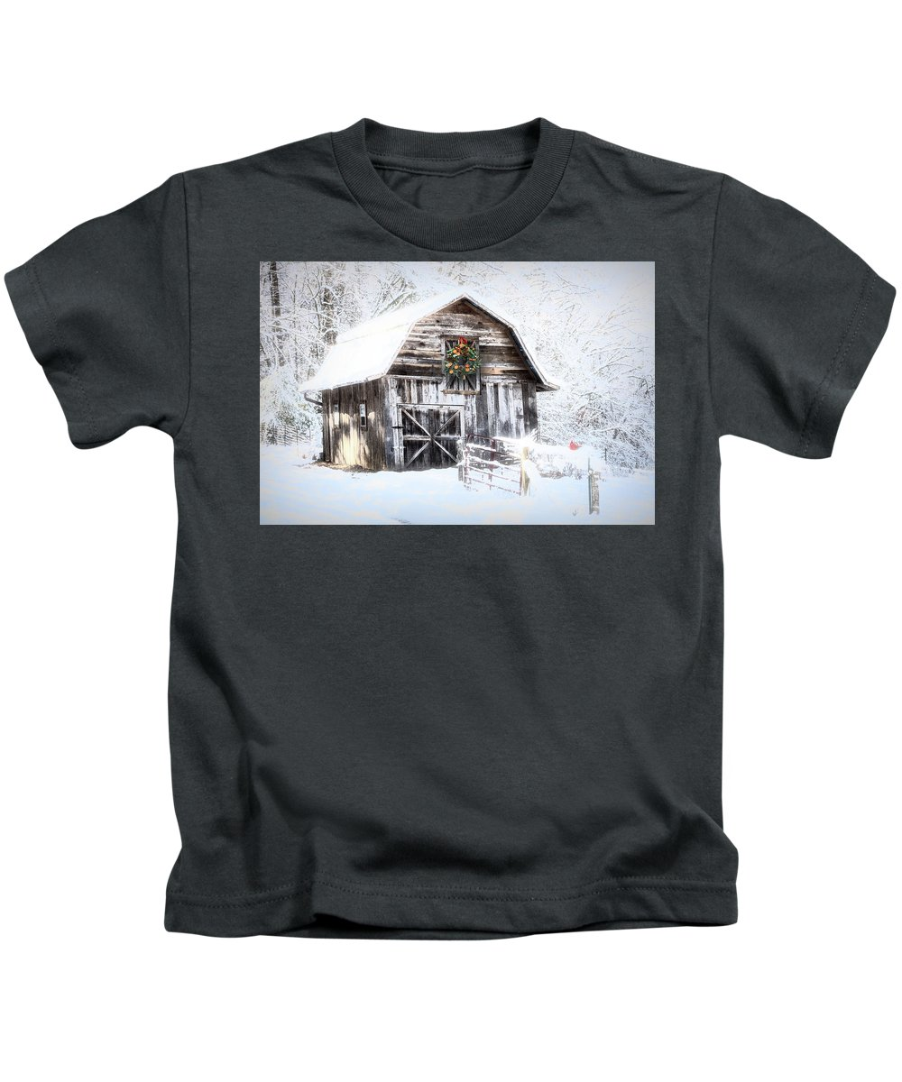 Appalachia Kids T-Shirt featuring the photograph Early December Snowfall Morning by Debra and Dave Vanderlaan