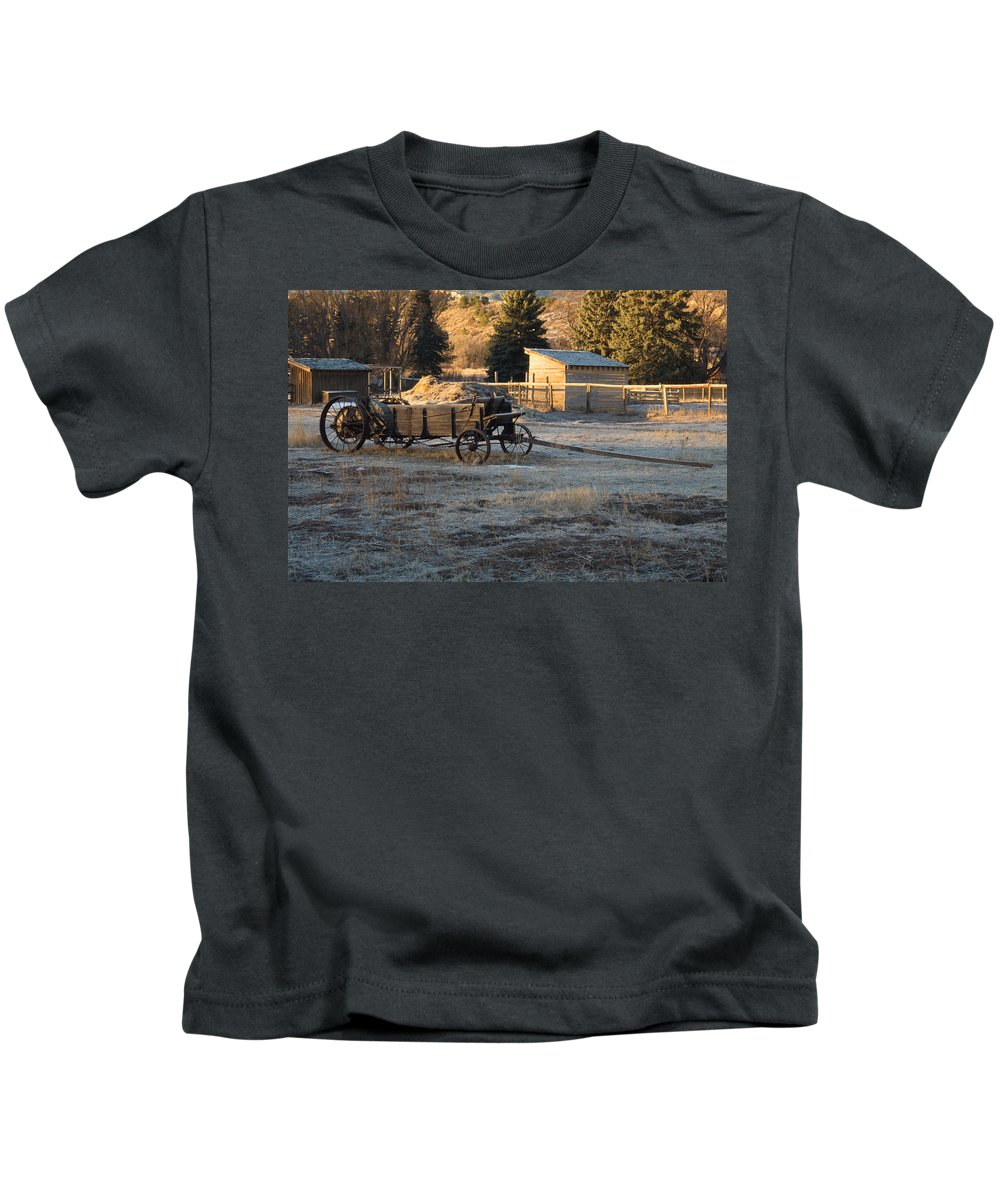 Early Kids T-Shirt featuring the photograph Early Farm Wagon by Michael Mullennix