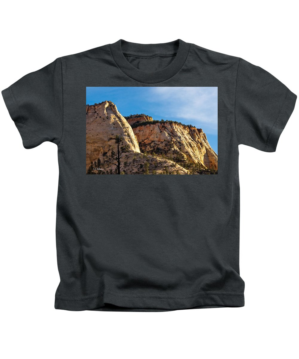 Zion Kids T-Shirt featuring the photograph Early Morning In Zion Canyon by Christopher Holmes