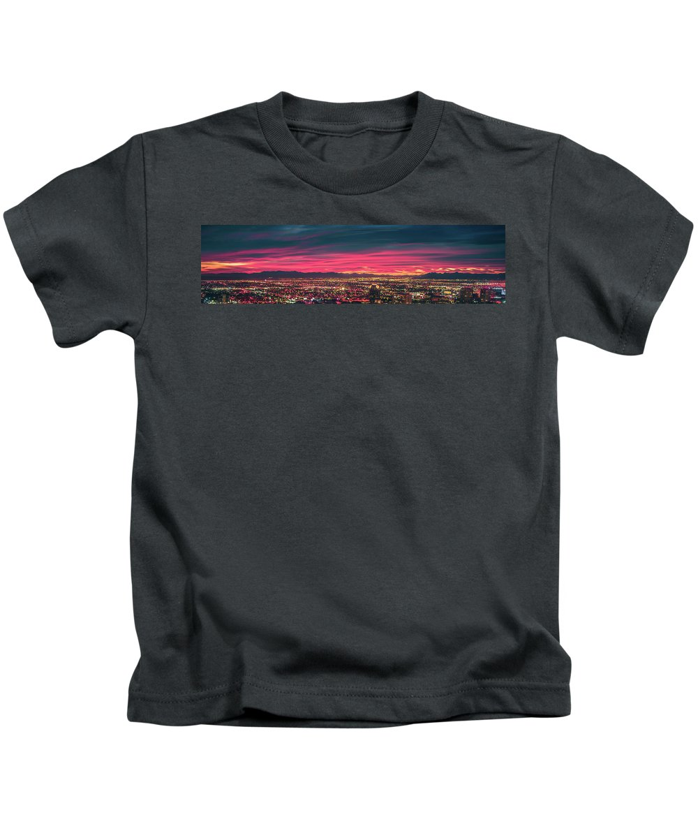 Night Kids T-Shirt featuring the photograph Early Morning Sunrise Over Valley Of Fire And Las Vegas by Alex Grichenko