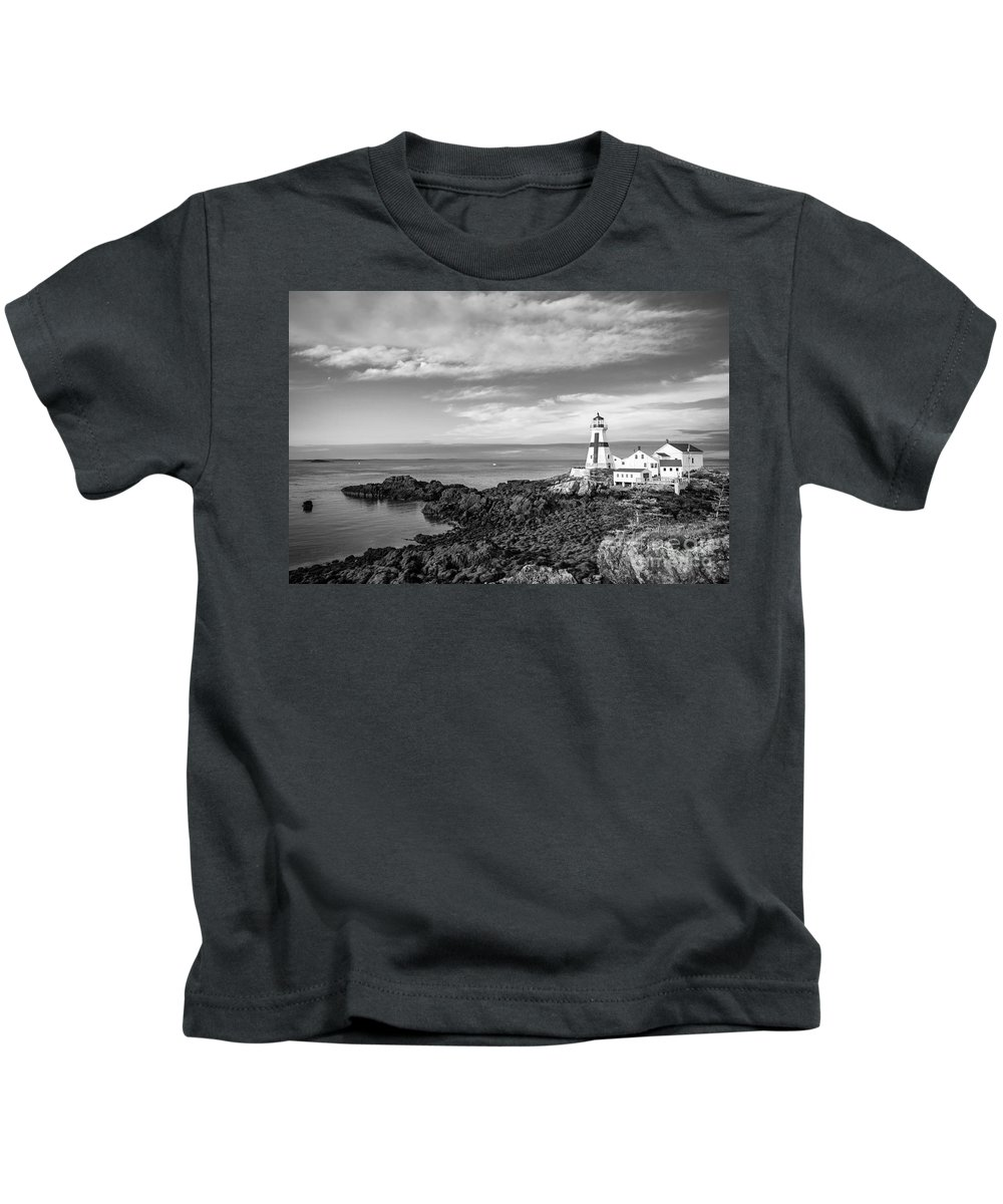 Black And White Kids T-Shirt featuring the photograph East Quoddy Lighthouse by Susan Garver