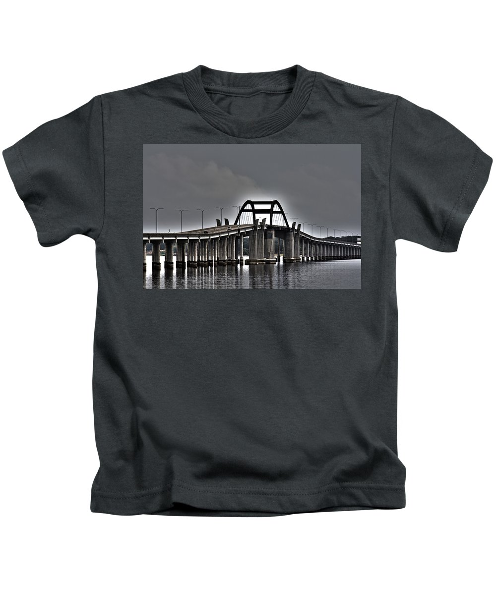 Lewisville Lake Toll Bridge Kids T-Shirt featuring the photograph East-west Connection by Douglas Barnard