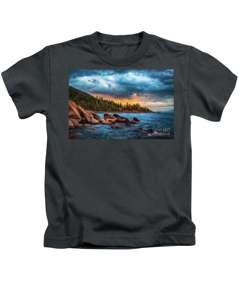 Lake Tahoe Kids T-Shirt featuring the photograph Eastern Glow At Sunset by Anthony Bonafede